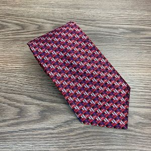 Jos A Bank Red, Light Blue & Blue Check Tie
